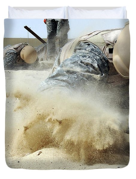 Army Soldier Pulls Himself Duvet Cover by Stocktrek Images