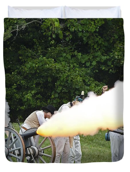 Duvet Cover featuring the photograph Artillery Demonstration by JT Lewis