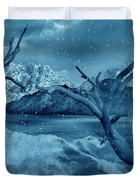 Artists Concept Of A Dangerous Snow Duvet Cover by Mark Stevenson