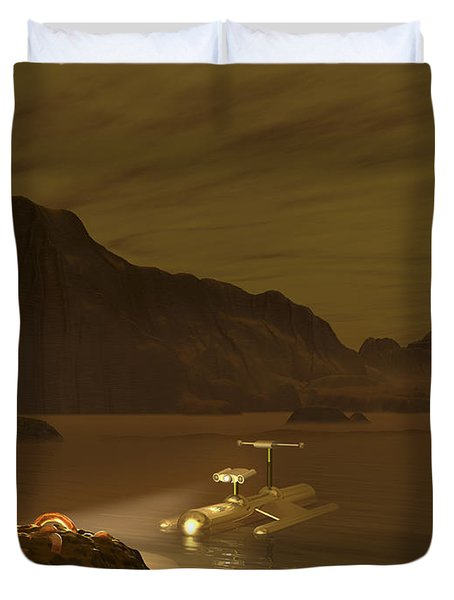 Artists Concept Of A Robotic Probe Duvet Cover by Walter Myers