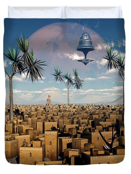 Artists Concept Of Aliens Visiting Duvet Cover by Mark Stevenson