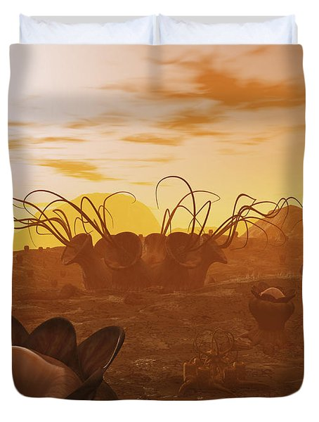 Artists Concept Of Animal And Plant Duvet Cover by Walter Myers