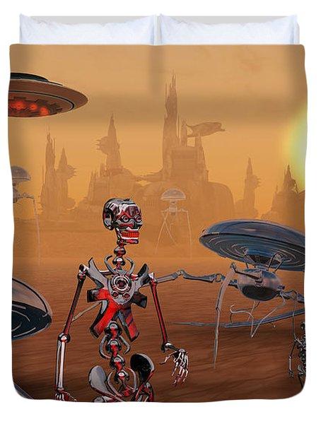 Artists Concept Of Life On Mars Long Duvet Cover by Mark Stevenson