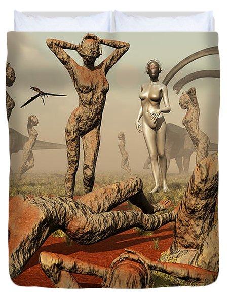 Artists Concept Of Mutated Dinosaurs Duvet Cover by Mark Stevenson