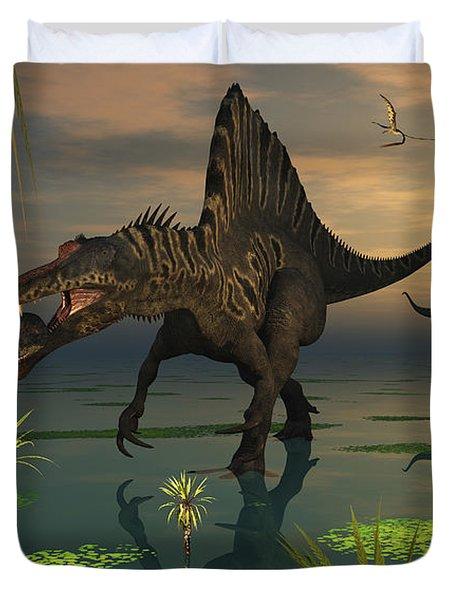 Artists Concept Of Spinosaurus Duvet Cover by Mark Stevenson