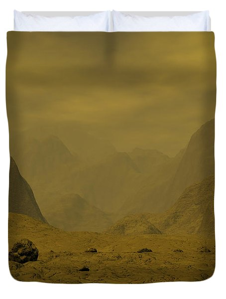 Artists Concept Of The Surface Of Venus Duvet Cover by Walter Myers