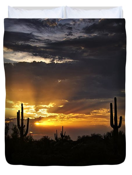 As The Sun Sets In The West  Duvet Cover by Saija  Lehtonen