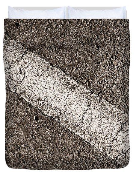Asphalt With White Diagonal Line Duvet Cover