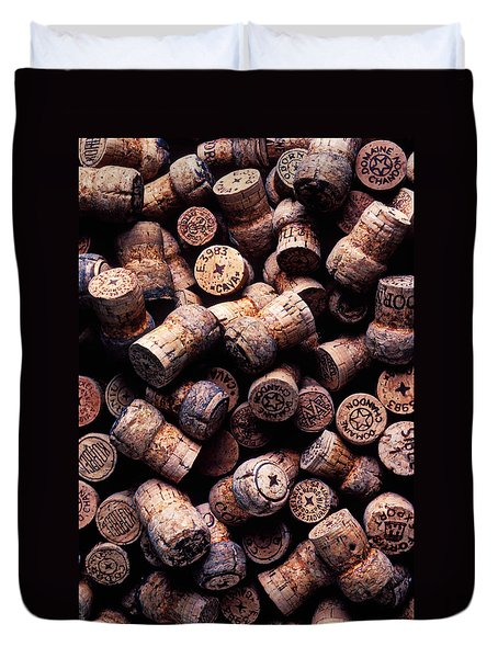 Assorted Champagne Corks Duvet Cover by Garry Gay