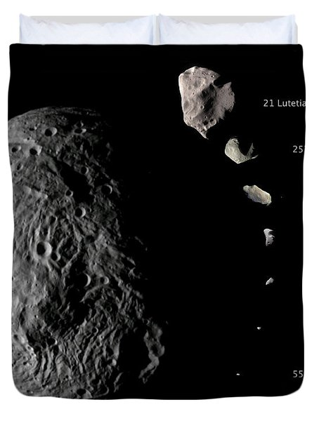Asteroid Size Comparison With Vesta Duvet Cover by NASA/Science Source