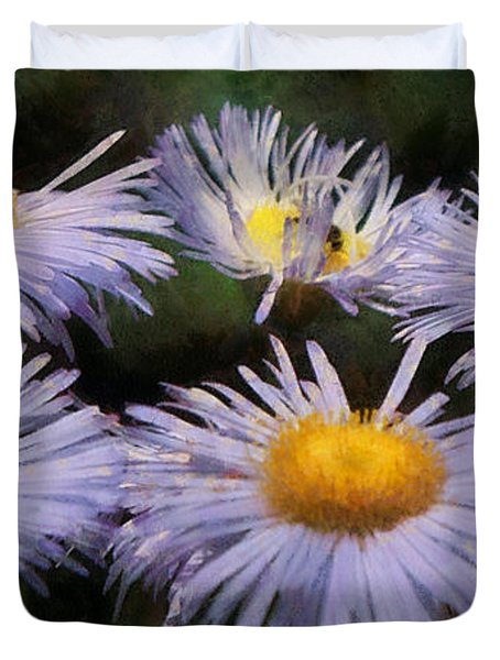 Asters Painterly Duvet Cover by Ernie Echols