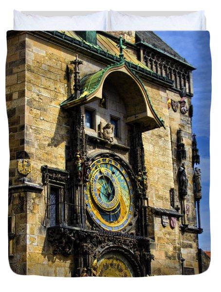 Astonomical Clock    Prague Old Town Duvet Cover by Jon Berghoff