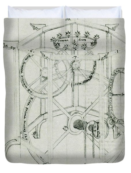 Astrarium Sketch By Giovanni De Dondi Duvet Cover by Science Source