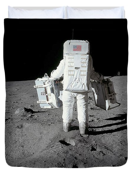 Astronaut Carrying Equipment Duvet Cover by Stocktrek Images