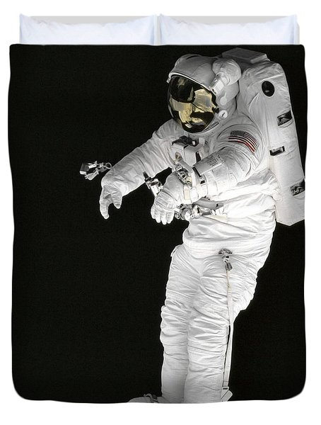 Astronaut Stands On A Portable Foot Duvet Cover by Stocktrek Images