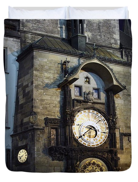 Astronomical Clock At Night Duvet Cover by Sally Weigand