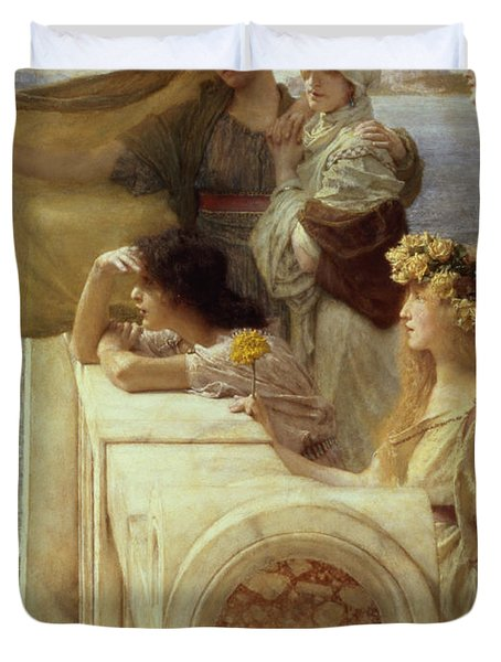 At Aphrodite's Cradle Duvet Cover by Sir Lawrence Alma-Tadema