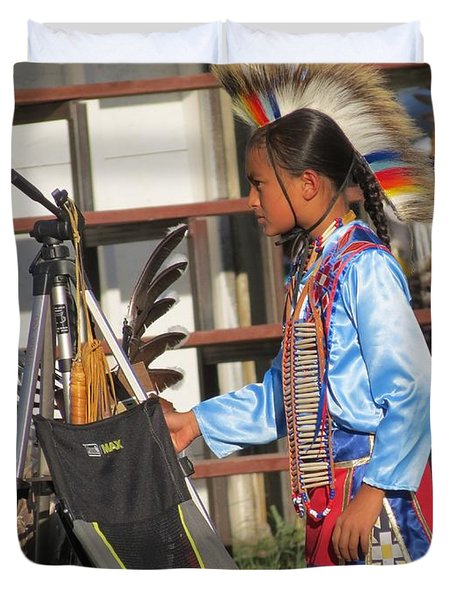 Duvet Cover featuring the photograph At Blackfeet Pow Wow 03 by Ausra Huntington nee Paulauskaite