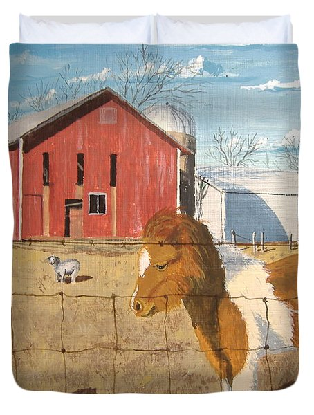 Duvet Cover featuring the painting At Home by Norm Starks