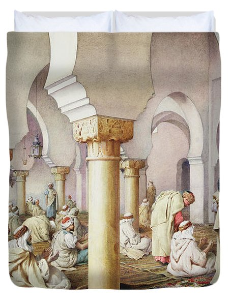 At Prayer In The Mosque Duvet Cover by Filipo Bartolini or Frederico