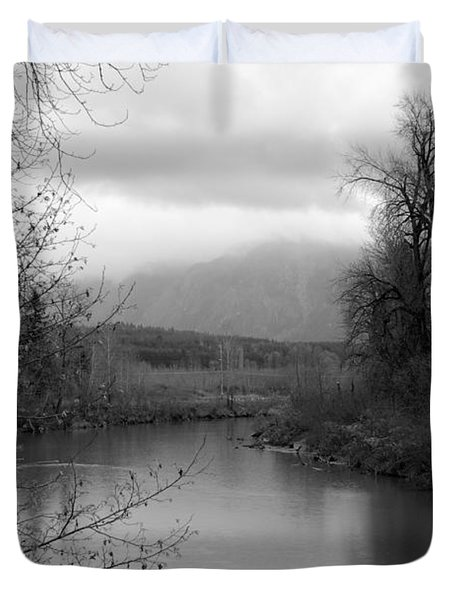 Duvet Cover featuring the photograph At The River Turn Bw by Kathleen Grace