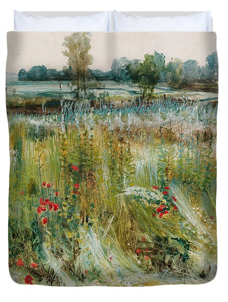 At The Water's Edge Duvet Cover by John William Buxton Knight