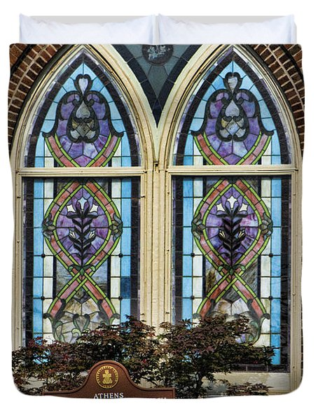 Athens Alabama First Presbyterian Church Stained Glass Window Duvet Cover by Kathy Clark