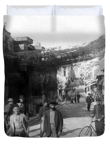 Athens Greece  C 1903 - Aeolos Street And The Stoa Of Hadrian Duvet Cover by International  Images