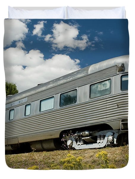 Atsf Train And Flowers Duvet Cover by Tim Mulina