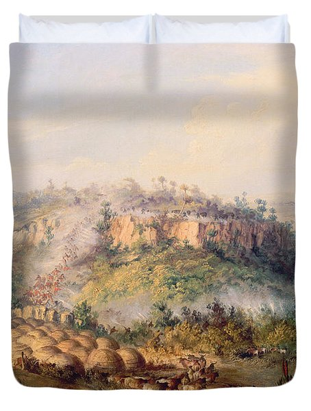 Attack On Stocks Kraall In The Fish River Bush Duvet Cover by Thomas Baines