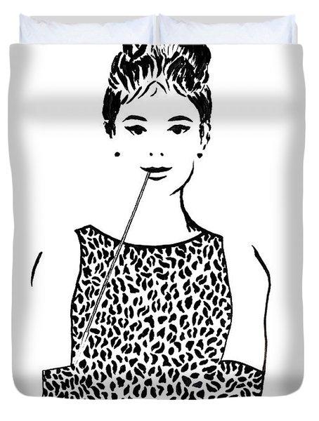 Audrey Hepburn Duvet Cover by Georgeta  Blanaru