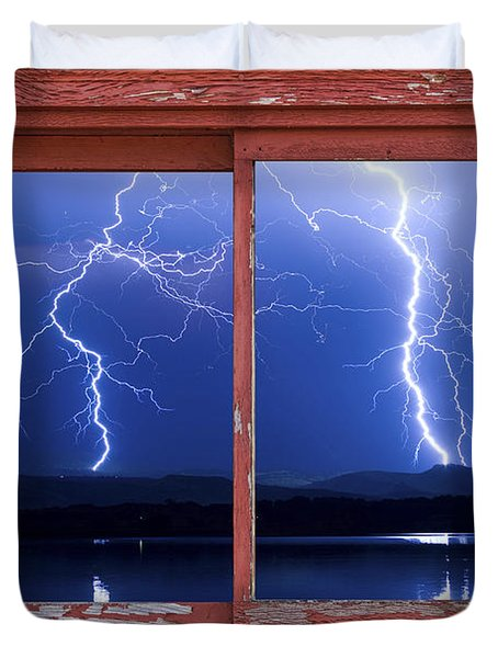 August 5th Lightning Storm Red Picture Window Frame Photo Art Duvet Cover by James BO  Insogna