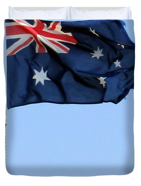 Duvet Cover featuring the photograph Aussie Flag by Roberto Gagliardi
