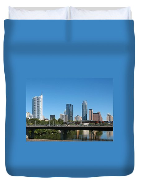 Austin Texas 2012 Skyline And Water Reflections Duvet Cover by Connie Fox