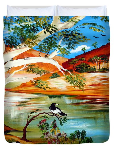 Duvet Cover featuring the painting Australia My Way by Roberto Gagliardi