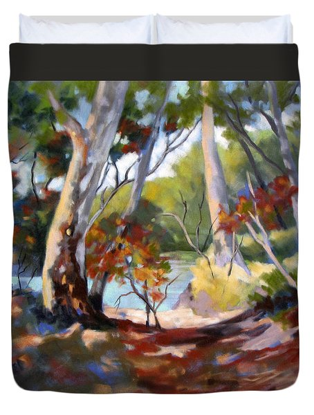 Duvet Cover featuring the painting Australia Revisited by Rae Andrews