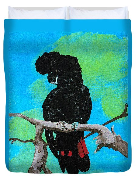 Australian Black Red Tailed Cockatoo Duvet Cover