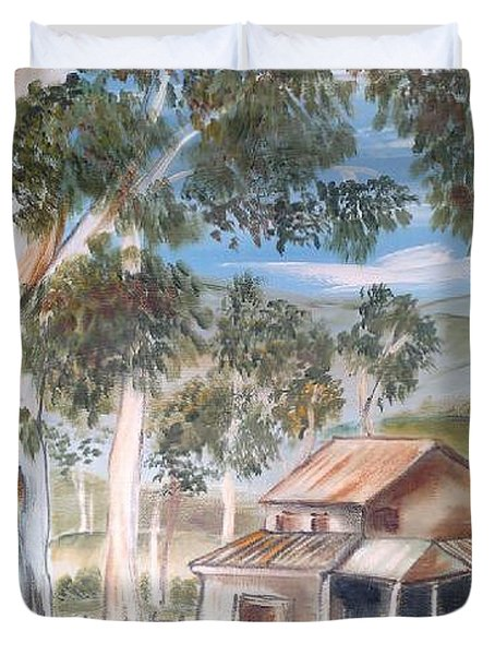 Duvet Cover featuring the painting Australian Outback Cabin 2 by Roberto Gagliardi