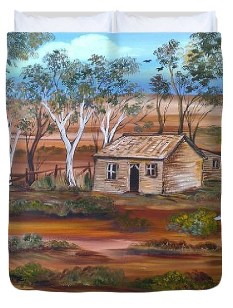 Duvet Cover featuring the painting Australian Outback Cabin by Roberto Gagliardi