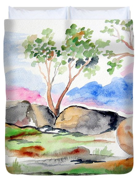 Duvet Cover featuring the painting Australian Rocks Outback by Roberto Gagliardi