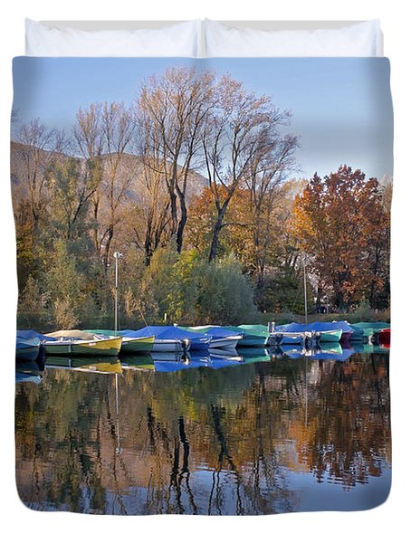 autum at the Lake Maggiore Duvet Cover by Joana Kruse