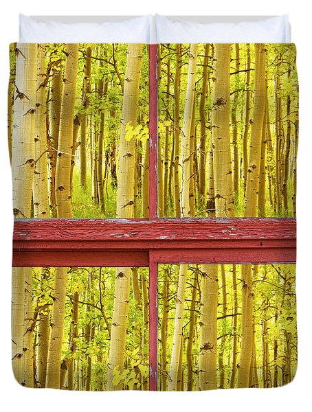 Autumn Aspen Trees Red Rustic Picture Window Frame Photos Fine A Duvet Cover by James BO  Insogna