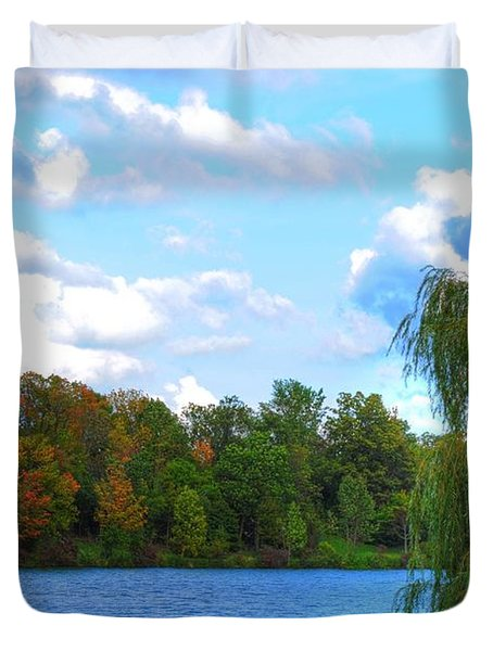 Duvet Cover featuring the photograph Autumn At Hoyt Lake by Michael Frank Jr