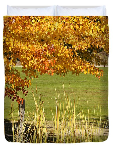 Autumn At The Schoolground Duvet Cover by Mick Anderson