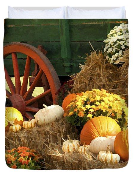 Autumn Bounty Vertical Duvet Cover by Kathy Clark
