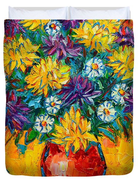 Autumn Flowers Gorgeous Mums - Original Oil Painting Duvet Cover by Ana Maria Edulescu