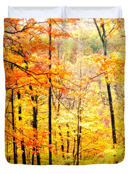 Duvet Cover featuring the photograph Autumn Forest by Randall Branham