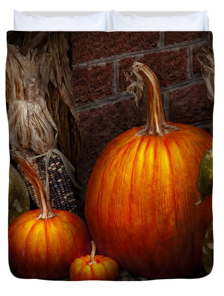 Autumn - Gourd - Family Get Together Duvet Cover by Mike Savad