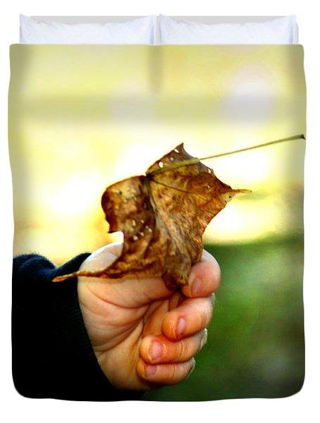 Autumn In Hand Duvet Cover by Kelly Hazel