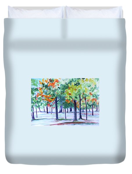 Autumn In The Park Duvet Cover by Jan Bennicoff